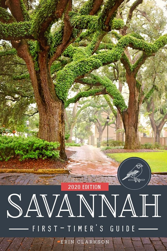 Savannah First-Timer's Guide book cover. Oak tree covered in resurrection fern in a foggy Chatham Square.