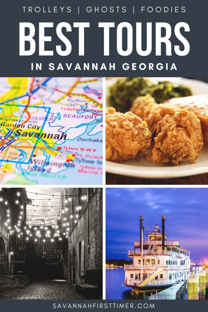 Collage showing a map of Savannah, a dinner plate of crispy fried chicken, a spooky River Street scene at night, and the Georgia Queen riverboat