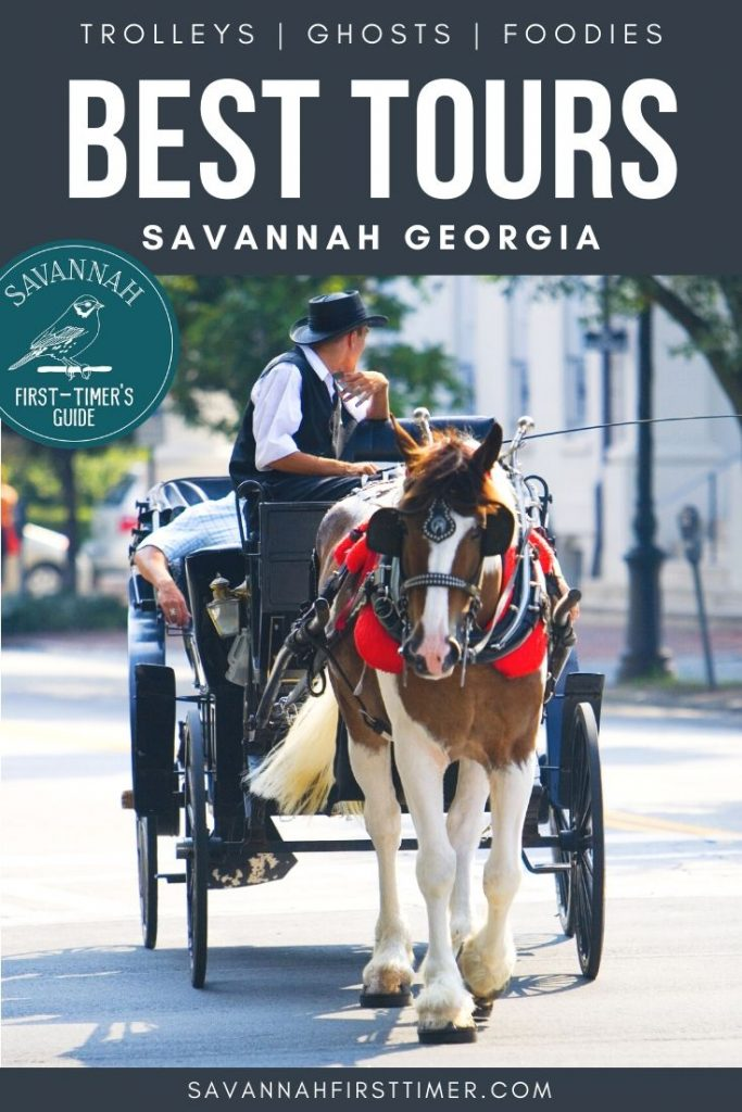 Horse and carriage touring downtown Savannah