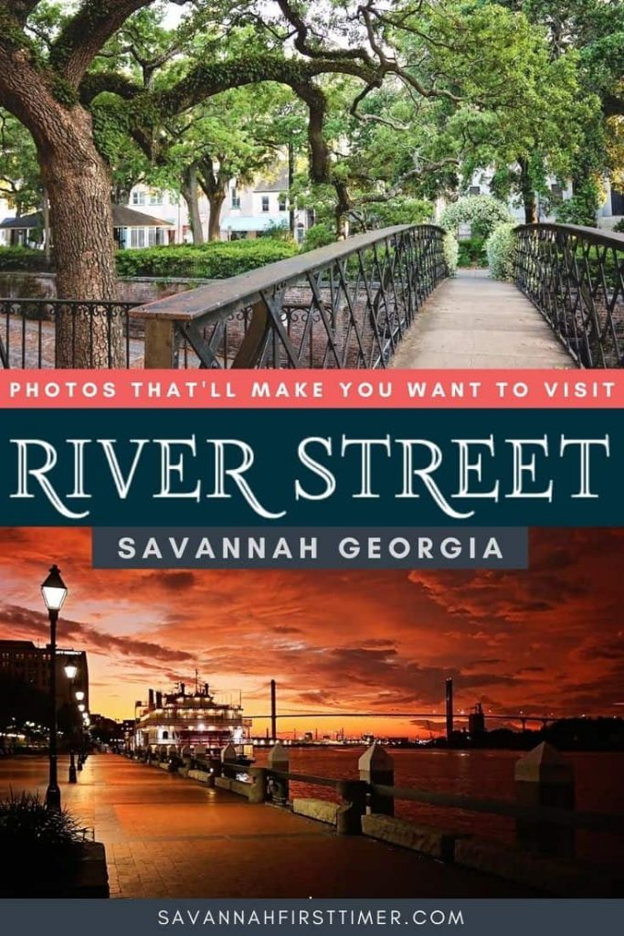 Pinnable image of an iron walkway shaded by a large oak and a sunset photo of River Street in Savannah GA