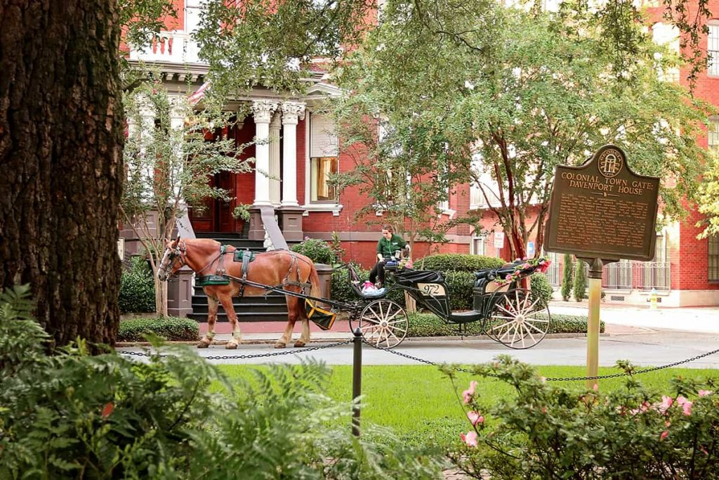 A horse and carriage passing by the front entrance to The Kehoe House