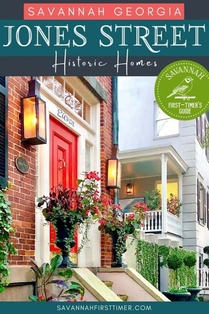 Pinnable image of a historic home on Jones Street with a bright red door