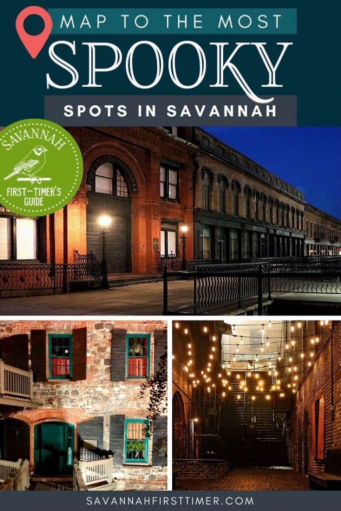 Collage of three haunted places in Savannah GA at night