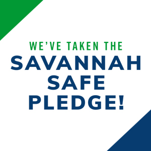 Green and blue text overlay on a white background that reads WE'VE TAKEN THE SAVANNAH SAFE PLEDGE!