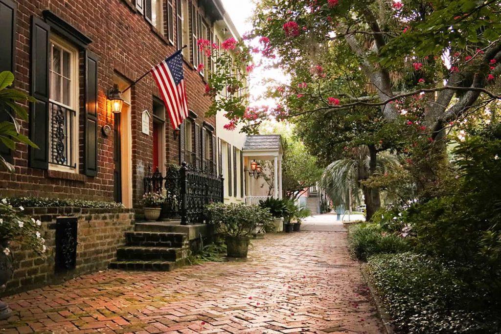 Historic brick sidewalks on Jones Street in Savannah GA