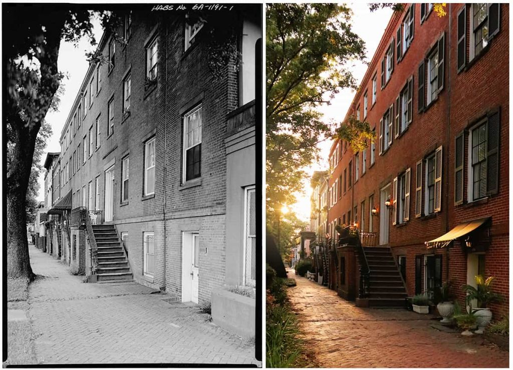 Side-by-side comparison of William Remshart row homes on Jones Street in Savannah from 1933 and 2021