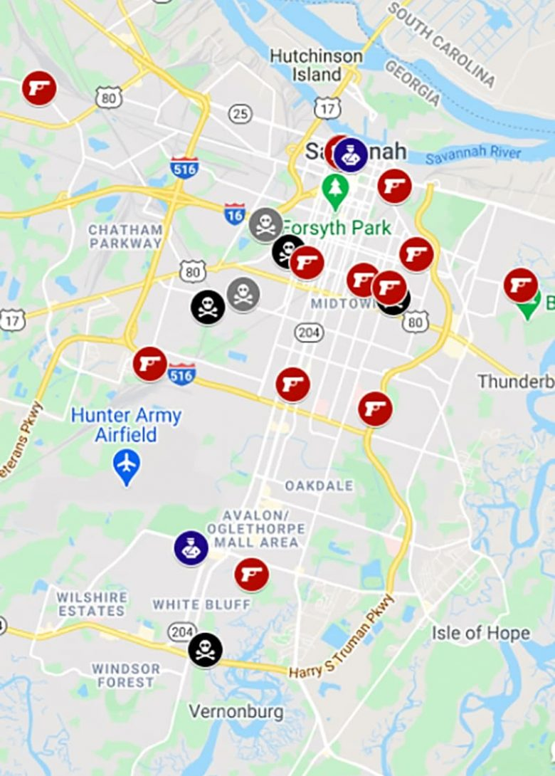 Crime map of Savannah Georgia with icons denoting events