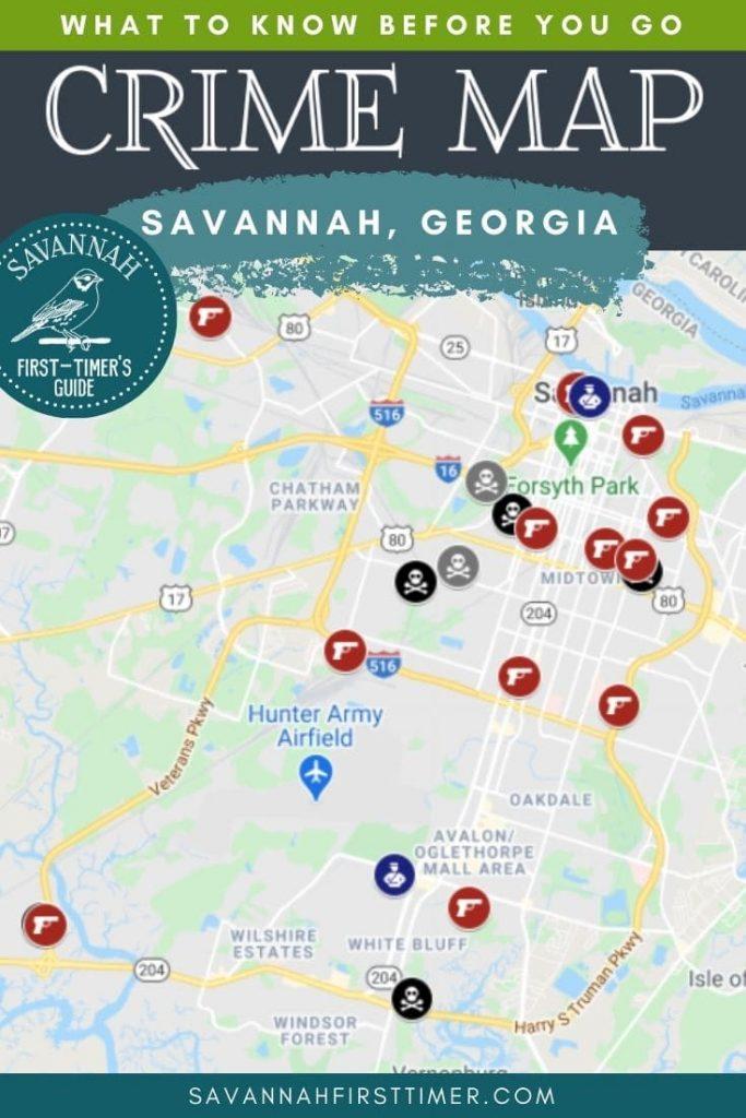 Savannah Crime Map with icons denoting homicides, stabbings, and gunshots.