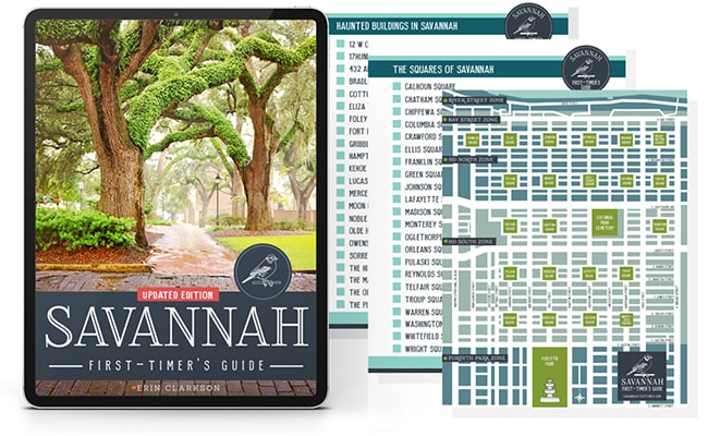 eReader showing Savannah First-Timer's Guide book cover, map of Savannah, and two printable checklists