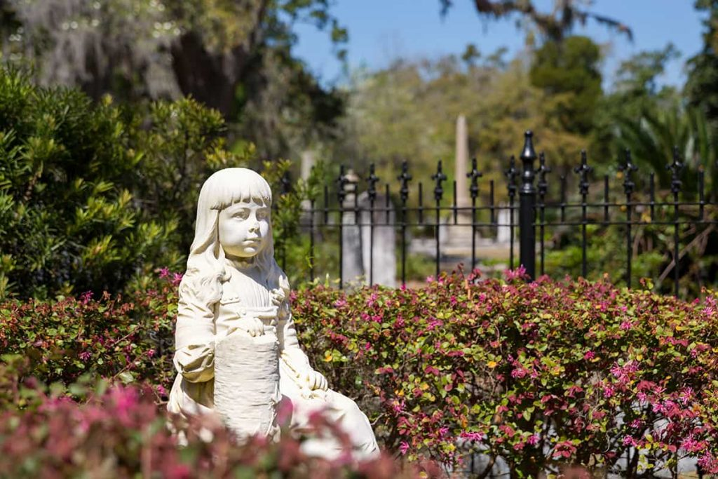 Statue of Little Gracie at Bonaventure Cemetery