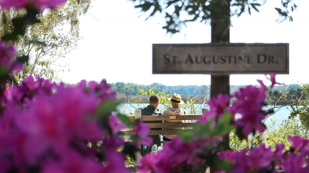 Peering through pink azaleas at a couple sitting on a bench looking out over the Wilmington River