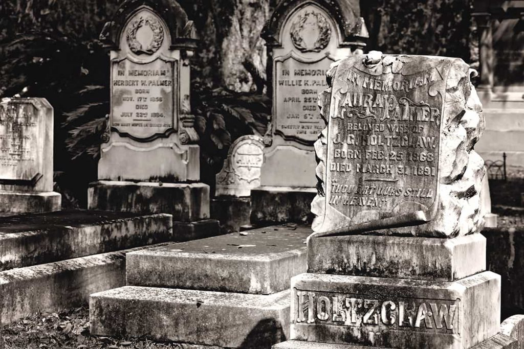 B&W of intricate headstones from the mid 1800s