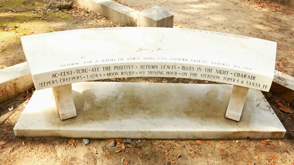 The Johnny Mercer bench at Bonaventure Cemetery