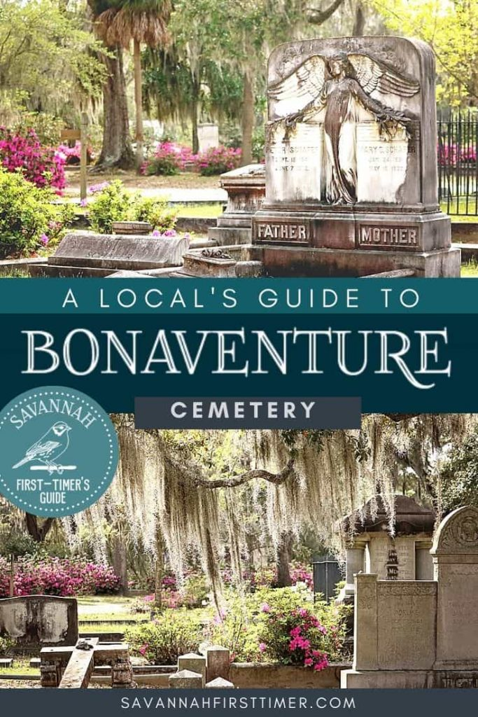 Two cemetery photos with text overlay that reads A Local's Guide to Bonaventure Cemetery