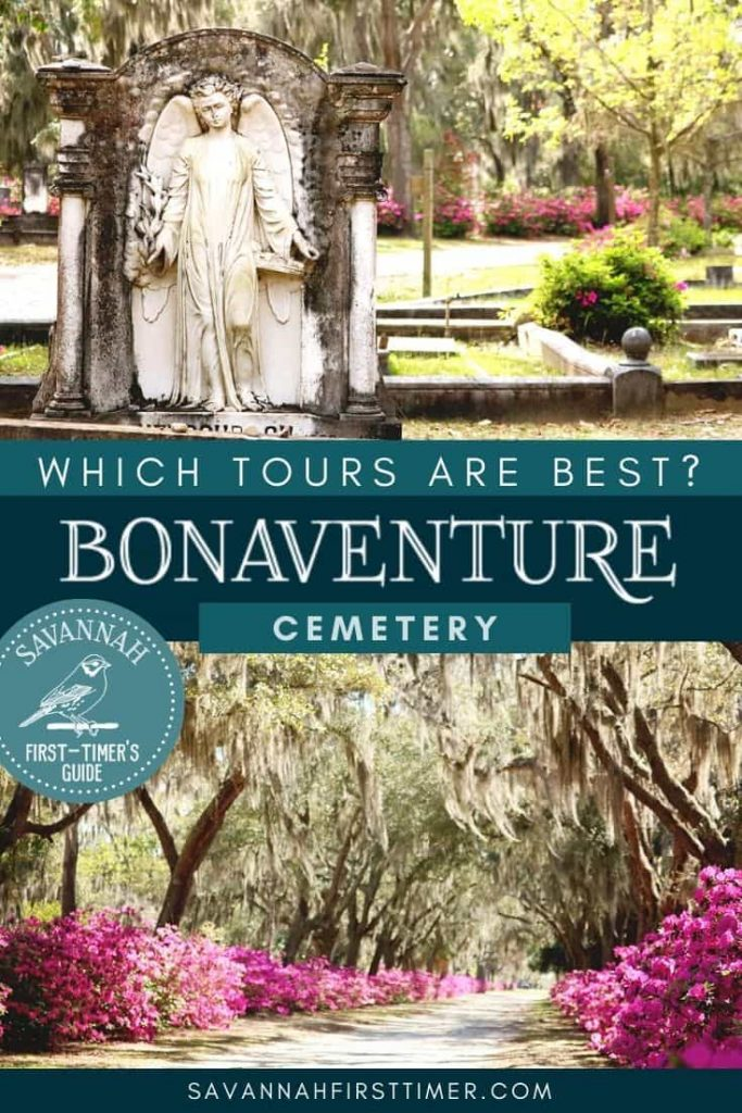 Two cemetery photos with text overlay that reads Which Bonaventure Cemetery Tour is Best?