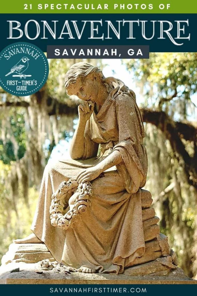 Headstone of a woman resting with her head on her hand with text overlay that reads 21 Spectacular Photos of Bonaventure Cemetery