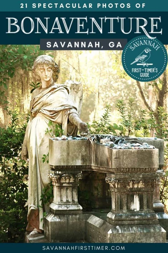 Headstone of an angel with a broken wing with text overlay that reads 21 Spectacular Photos of Bonaventure Cemetery