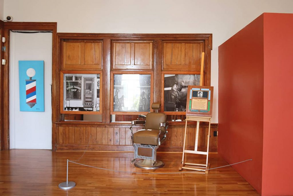 Display of an old-timey barber shop in The Beach Institute