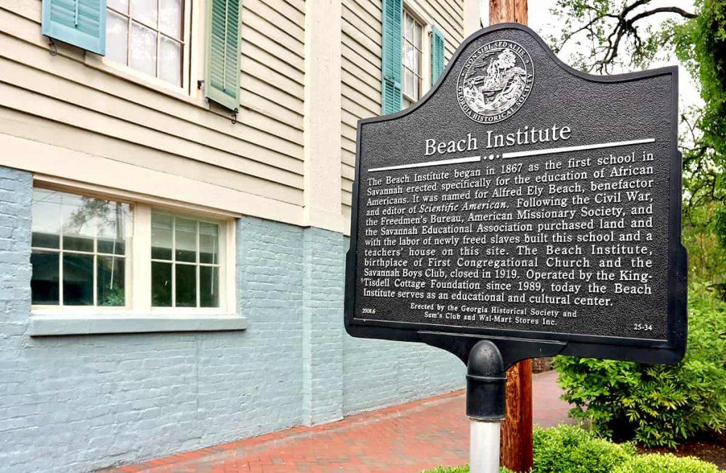Historic Marker outside The Beach Institute in Savannah Georgia