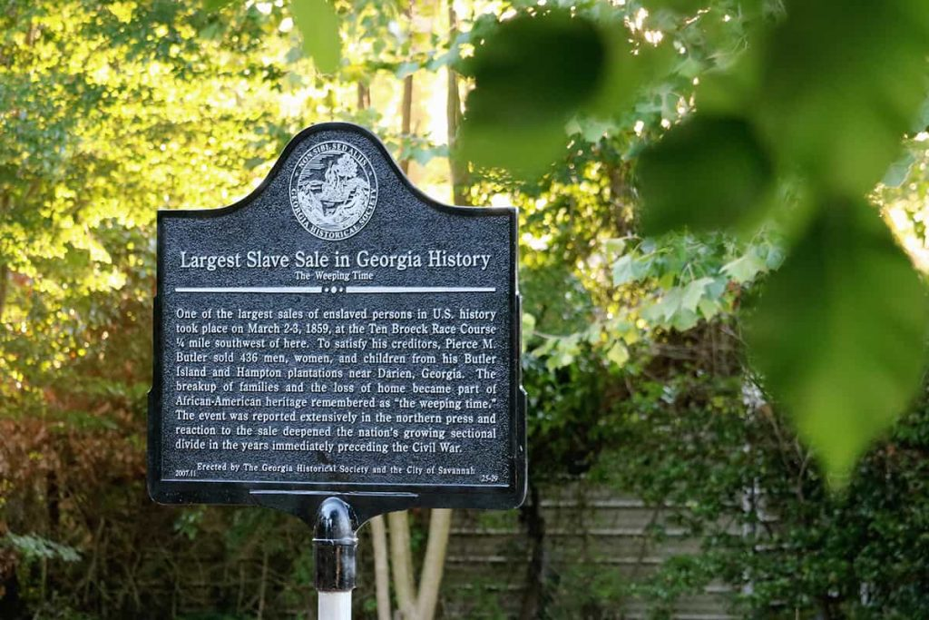 Historic marker commemorating the site of The Weeping Time memorial, which was the larges slave sale in the history of the United States.
