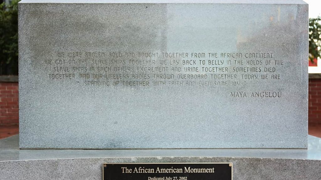 Inscription by Maya Angelou etched into the African American Monument in Savannah