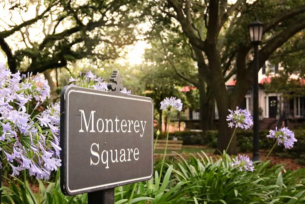 Monterey Square sign surrounded by purple flowers with mature oaks in the background