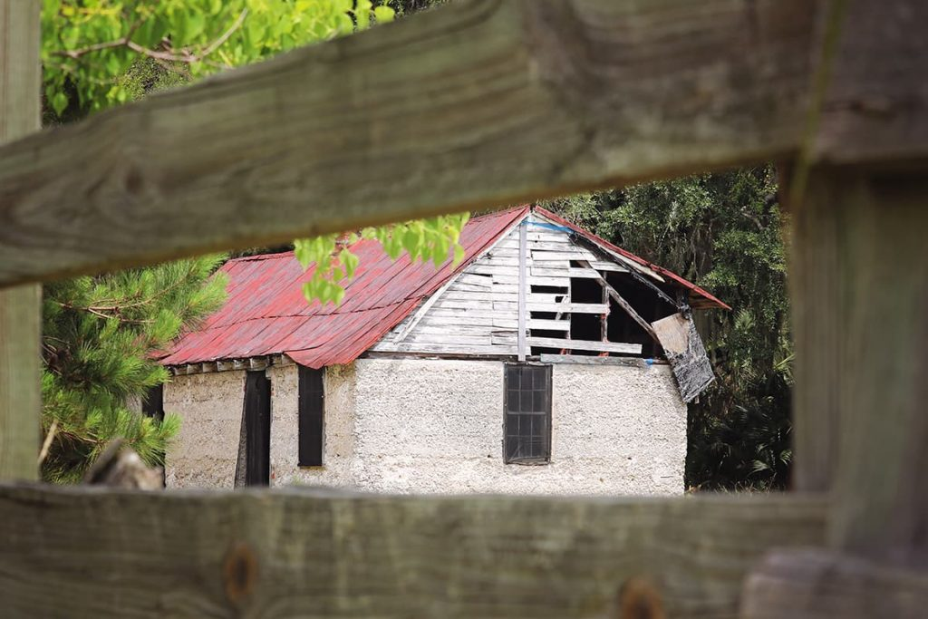 Peeking through an old wooden fence at an even older, abandoned slave cabin with a faded red roof on Ossabaw Island