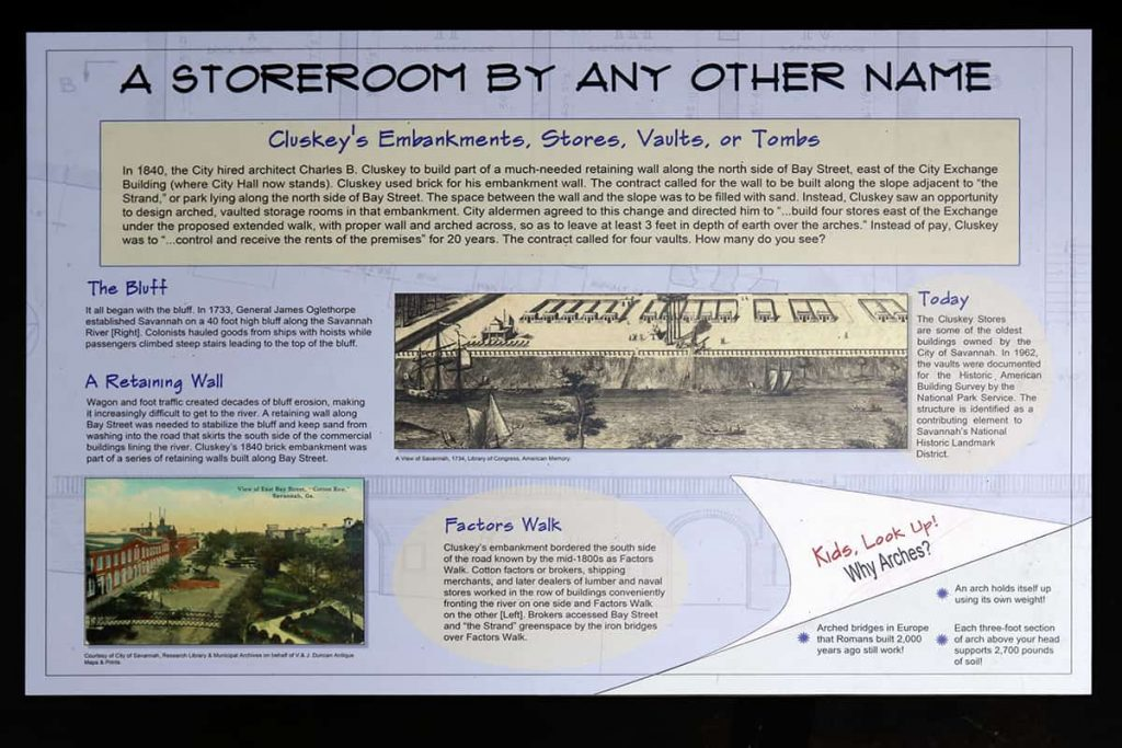 A sign with photos and text explaining the history of the Cluskey Vaults in Savannah GA