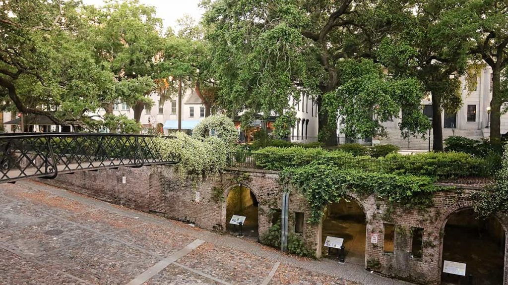 View of the Cluskey Vaults in Savannah from the Bay Street level of Factors Walk