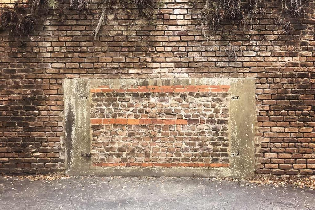 One of the old tunnels on Factors Walk that has been sealed off by bricks to deter curious explorers