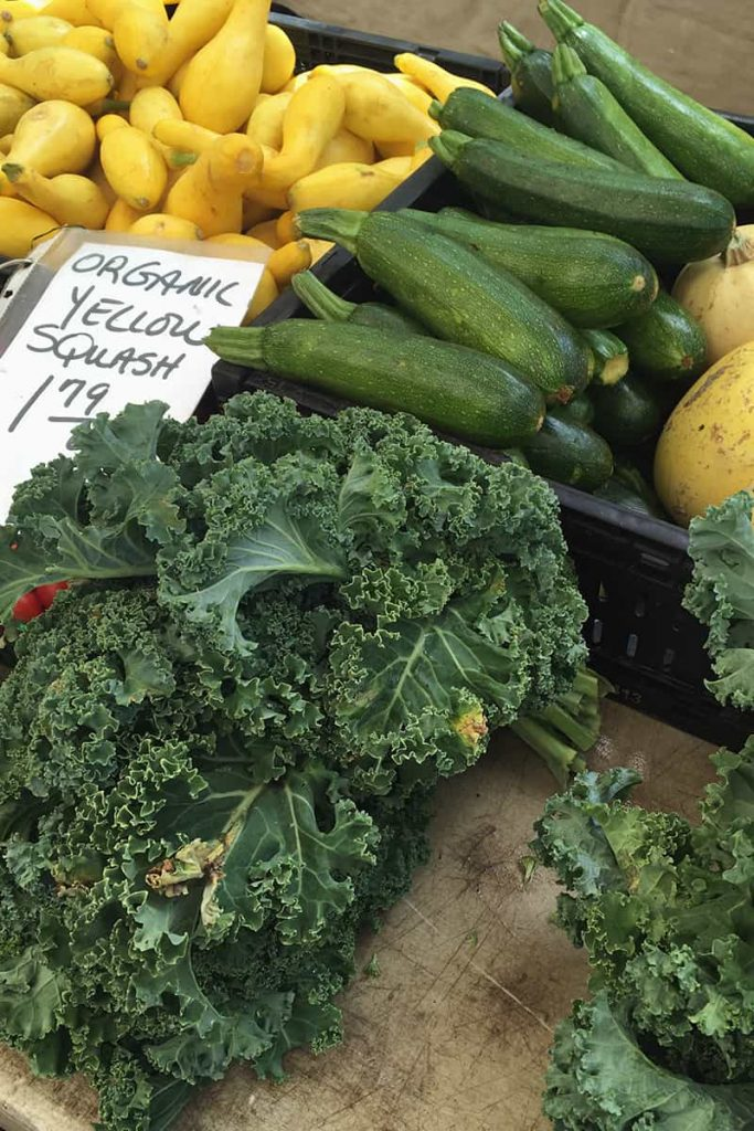 Baskets of organic yellow squash and zucchini at the Forsyth Park Farmers' Market