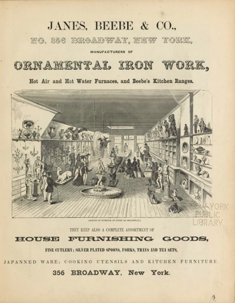 The Janes, Beebe, and Co. catalogue of Ornamental Iron Works shows a sketch of the interior of the store filled with iron statues and urns