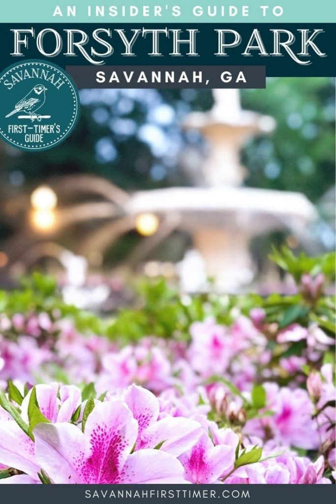 Pinnable graphic of hundreds of pink azaleas in front of a white fountain with text overlay that reads An Insider's Guide to Forsyth Park