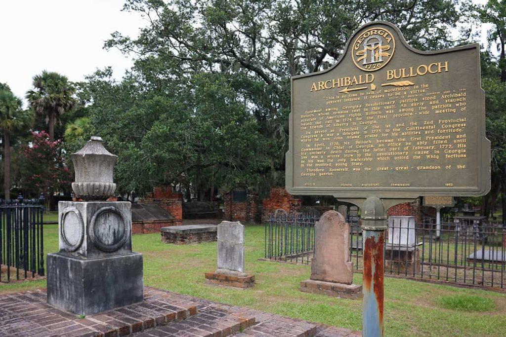 Archibald Bulloch historic marker in Colonial Park Cemetery