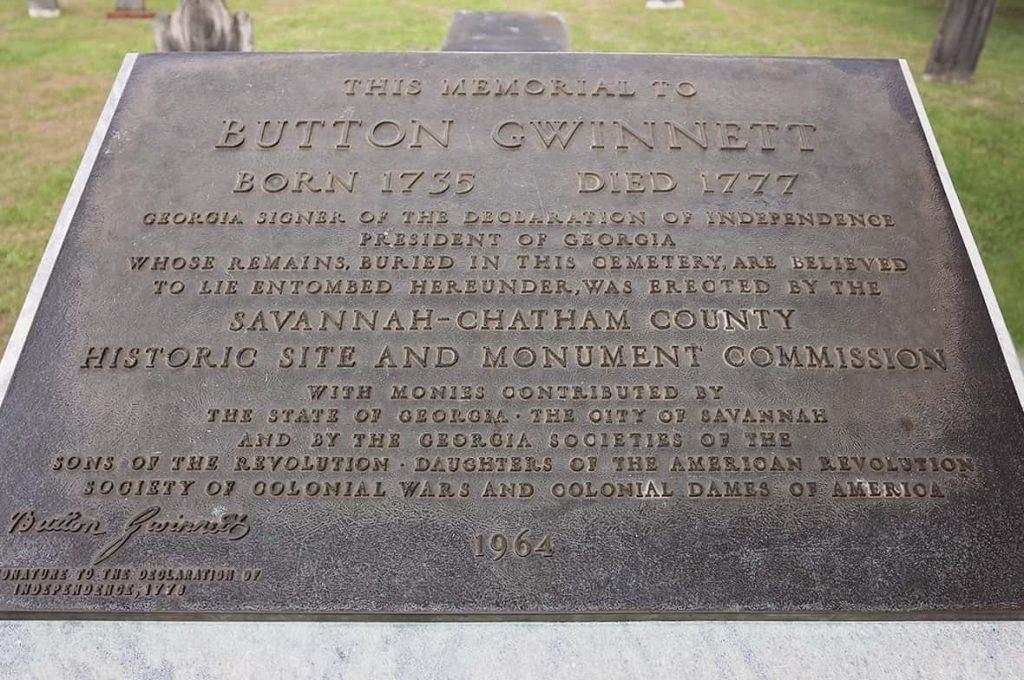 Bronze cemetery marker for Button Gwinnett in Colonial Park Cemetery