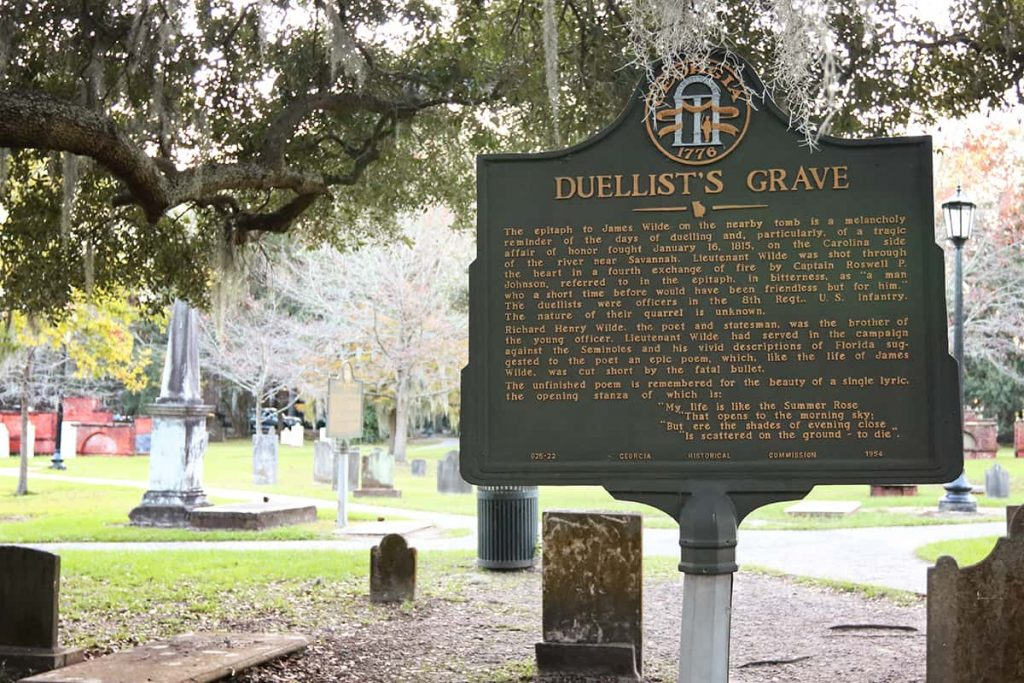 Duellist's Grave historic marker in Colonial Park Cemetery