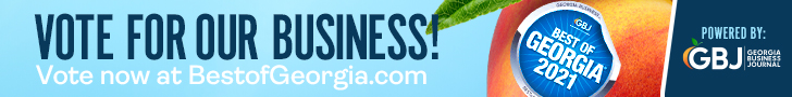 Banner requesting a vote for this business as the Best of Georgia 2021 with blue background and a Georgia peach