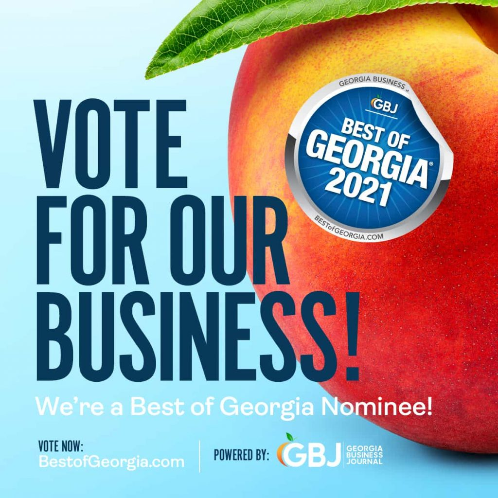Blue square requesting a vote for this business as the Best of Georgia 2021 with blue background and a Georgia peach