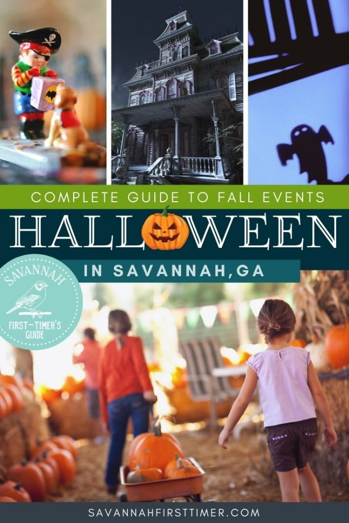 Pinnable graphic of four fall-themed photos and text overlay that reads Complete Guide Savannah Georgia in October